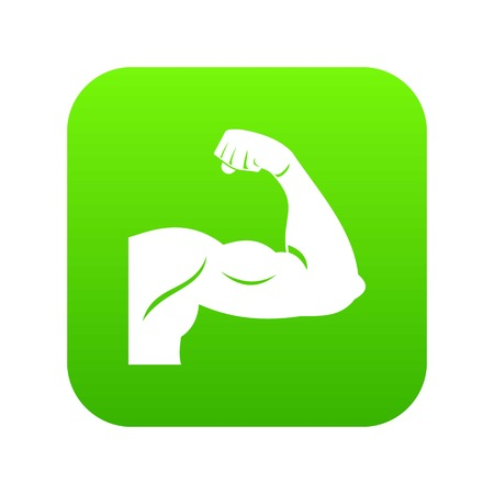 Biceps icon digital green for any design isolated on white vector illustration Standard-Bild - 130233267