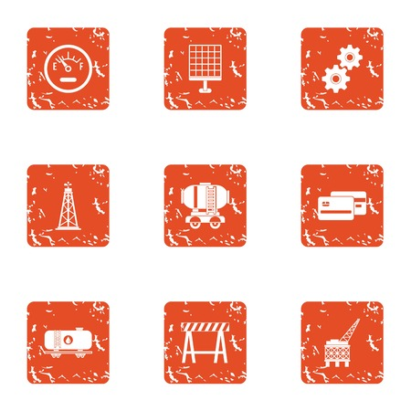 Fast construction icons set. Grunge set of 9 fast construction vector icons for web isolated on white background