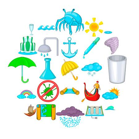 Water channel icons set. Cartoon set of 25 water channel vector icons for web isolated on white background