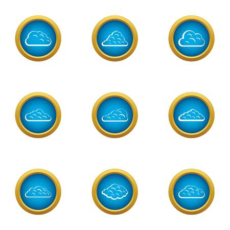 Mist icons set. Flat set of 9 mist vector icons for web isolated on white background Stock Illustratie