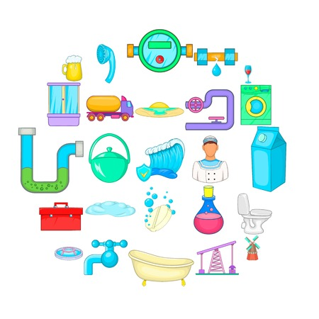 Wash the apartment icons set. Cartoon set of 25 wash the apartment vector icons for web isolated on white background