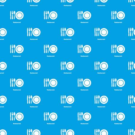 Restaurant pattern vector seamless blue repeat for any use