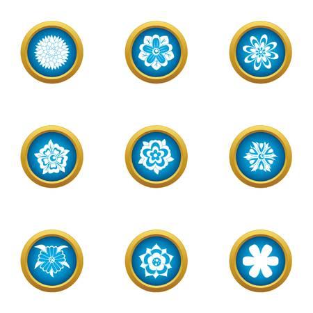 Flower pattern icons set, flat style Illustration