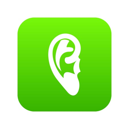 Ear icon digital green for any design isolated on white vector illustration