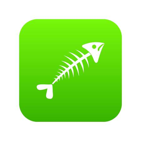 Fish bone icon digital green for any design isolated on white vector illustration