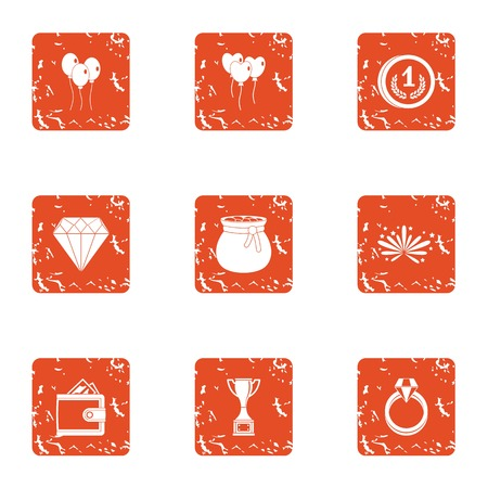 Gift to beloved icons set. Grunge set of 9 gift to beloved vector icons for web isolated on white background