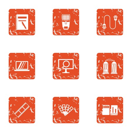 Data movement icons set. Grunge set of 9 data movement vector icons for web isolated on white background