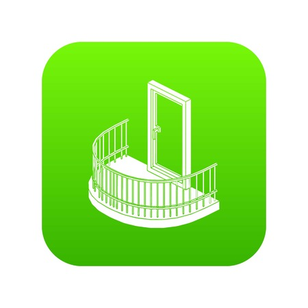 Balcony door icon green vector isolated on white background Illustration