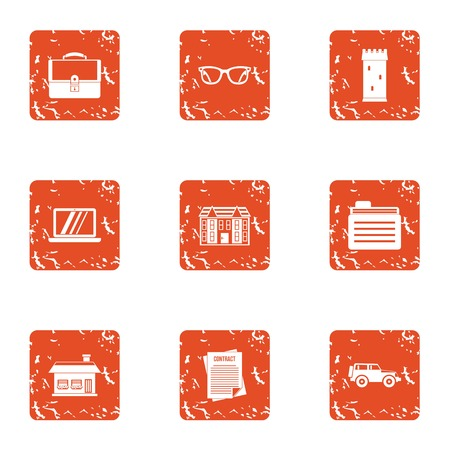 Document withdrawal icons set. Grunge set of 9 document withdrawal vector icons for web isolated on white background