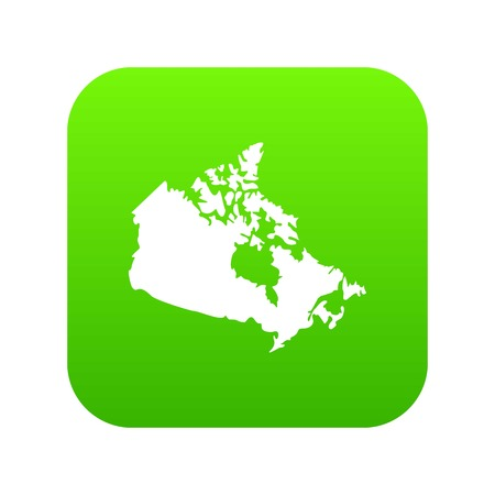 Canada map icon digital green for any design isolated on white vector illustration