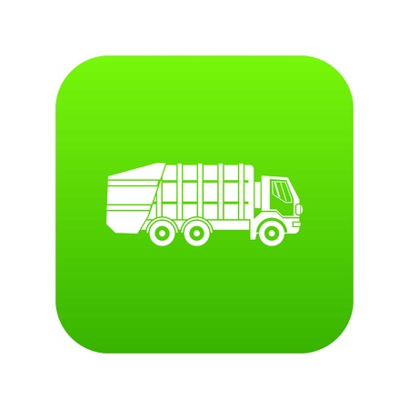 Garbage truck icon digital green for any design isolated on white vector illustration Illustration