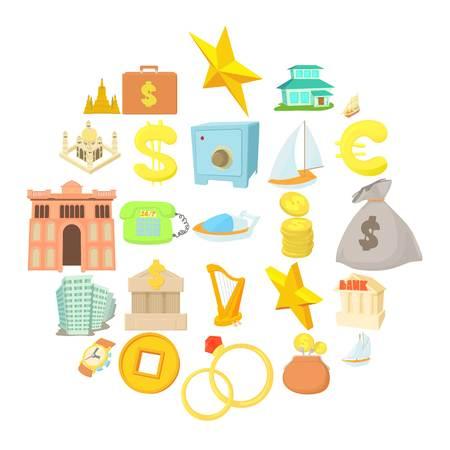 Monetary wealth icons set. Cartoon set of 25 monetary wealth vector icons for web isolated on white background
