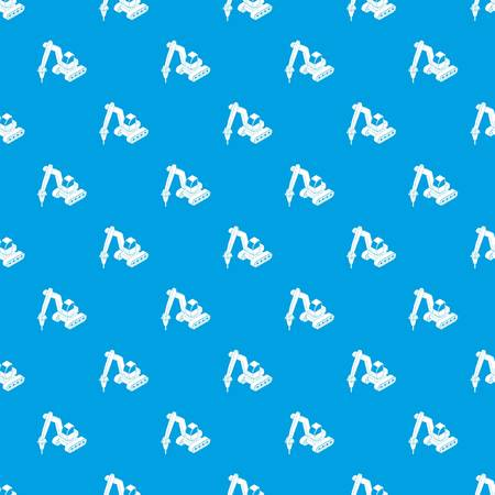 Drill tractor pattern vector seamless blue repeat for any use