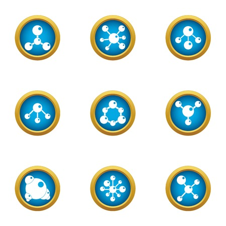 Chemical atom icons set. Flat set of 9 chemical atom vector icons for web isolated on white background