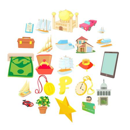 Major investment icons set. Cartoon set of 25 major investment vector icons for web isolated on white background Ilustração