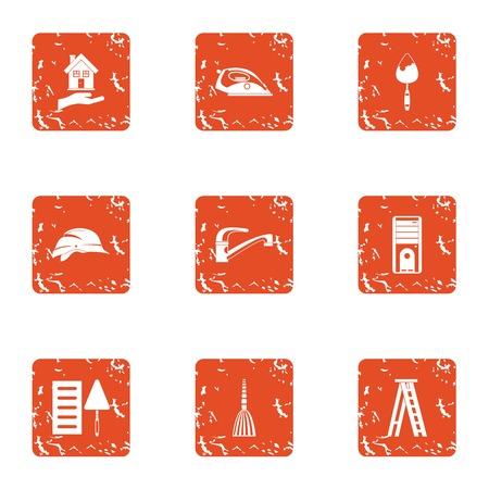 Refit icons set, grunge style Illustration