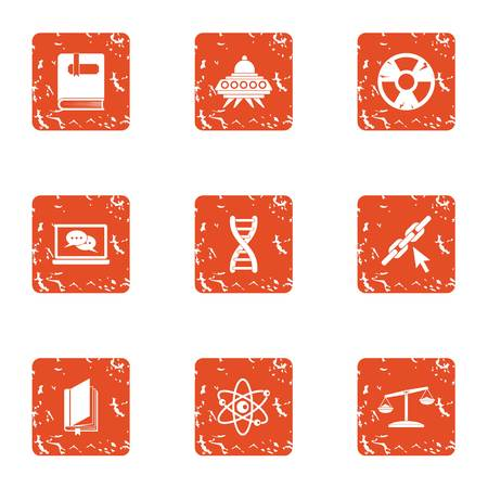Space chemistry icons set. Grunge set of 9 space chemistry vector icons for web isolated on white background
