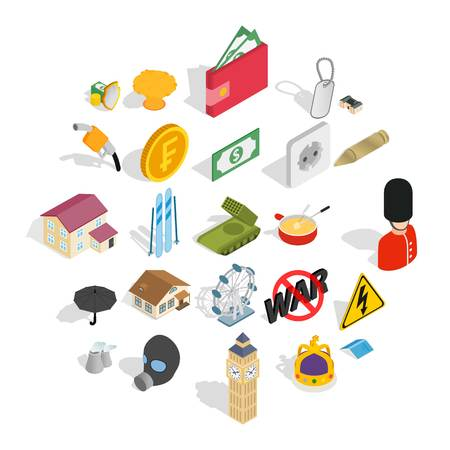 Profitable business icons set. Isometric set of 25 profitable business vector icons for web isolated on white background