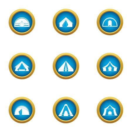 Hipped roof icons set. Flat set of 9 hipped roof vector icons for web isolated on white background