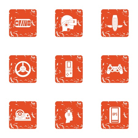 VR watch icons set, grunge style