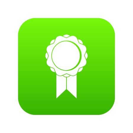 Rosette with ribbon icon digital green for any design isolated on white vector illustration