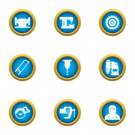Metal thread icons set. Flat set of 9 metal thread vector icons for web isolated on white background Çizim