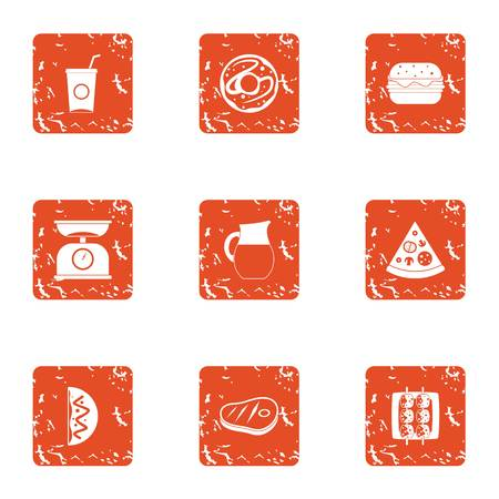 Unhealthy diet icons set. Grunge set of 9 unhealthy diet vector icons for web isolated on white background