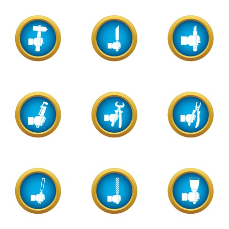 Workday routine icons set, flat style