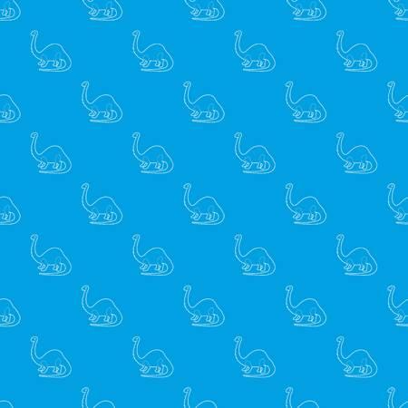 Apatosaurus dinosaur pattern vector seamless blue
