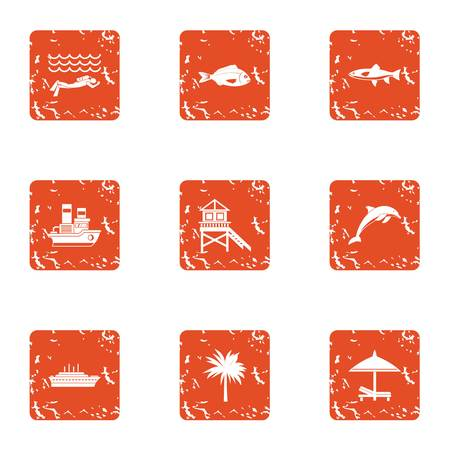 Swim the ocean icons set. Grunge set of 9 swim the ocean vector icons for web isolated on white background