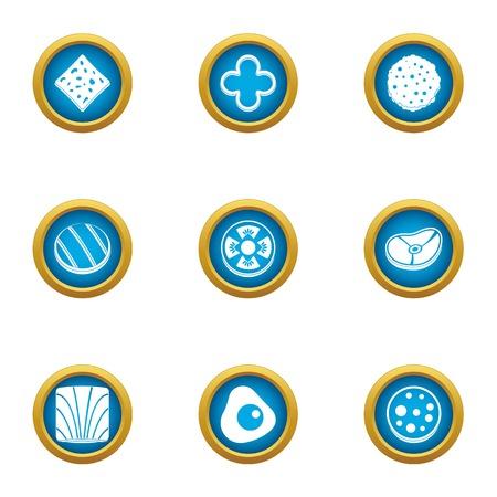 Sandwich ingredient icons set. Flat set of 9 sandwich ingredient vector icons for web isolated on white background