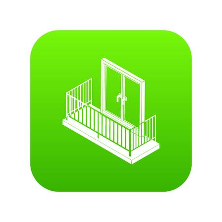 Balcony with metal fencing icon green vector