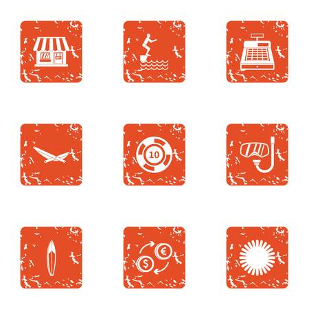 Coastal village icons set. Grunge set of 9 coastal village vector icons for web isolated on white background Иллюстрация