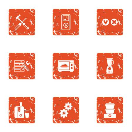 Oven icons set. Grunge set of 9 oven vector icons for web isolated on white background