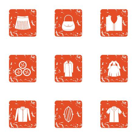 Women situation icons set. Grunge set of 9 women situation vector icons for web isolated on white background
