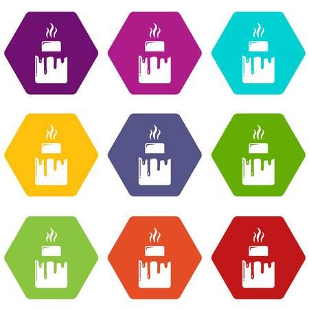 Empanadas icons 9 set coloful isolated on white for web