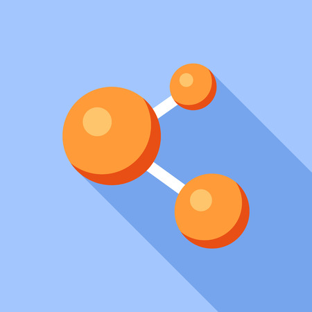 Orange molecule icon, flat style