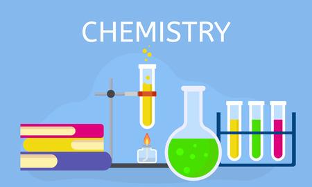 Fondo di concetto di lezione di chimica. Illustrazione piana della lezione di chimica concetto vettoriale sfondo per web design
