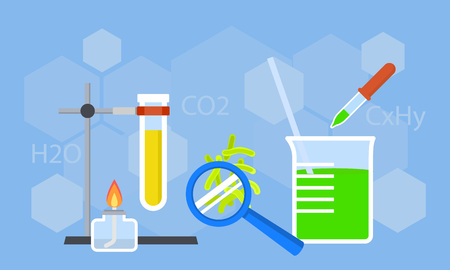 Chemistry study concept background. Flat illustration of chemistry study vector concept background for web design