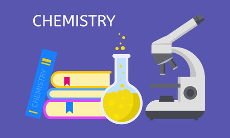 Study chemistry concept background. Flat illustration of study chemistry vector concept background for web design