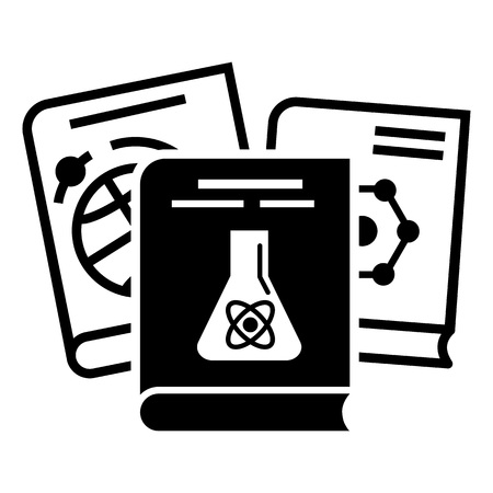 Chemie-Bücher-Symbol. Einfache Illustration der Vektorikone der Chemiebücher für das Webdesign lokalisiert auf weißem Hintergrund