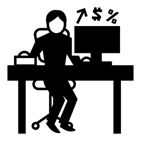 Man office accounting icon. Simple illustration of man office accounting vector icon for web design isolated on white background  イラスト・ベクター素材