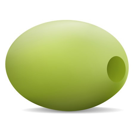 Eco green olive icon. Realistic illustration of eco green olive vector icon for web design  イラスト・ベクター素材