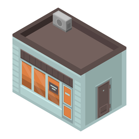 Coffee street shop icon, isometric style