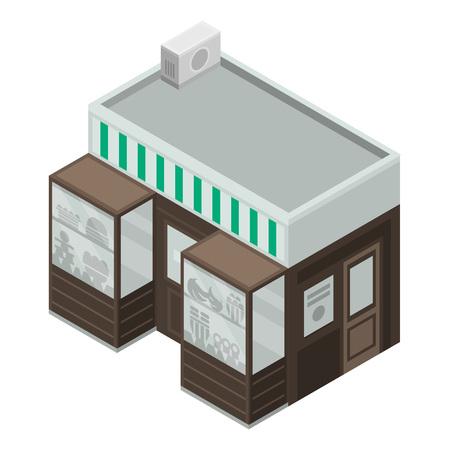 Sweet fruit street shop icon. Isometric of sweet fruit street shop vector icon for web design isolated on white background Ilustração