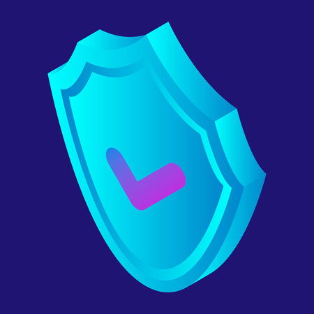 Digital security shield icon. Isometric of digital security shield vector icon for web design isolated on white background