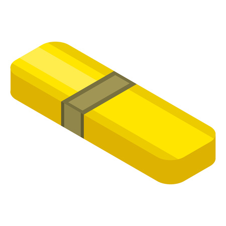 Yellow usb flash icon. Isometric of yellow usb flash vector icon for web design isolated on white background Stock Vector - 130233654