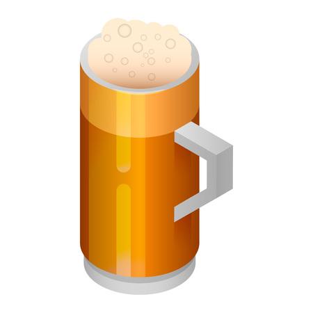 Beer mug icon. Isometric of beer mug vector icon for web design isolated on white background Ilustração