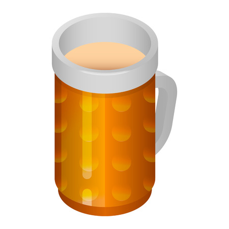 Beer glass mug icon. Isometric of beer glass mug vector icon for web design isolated on white background