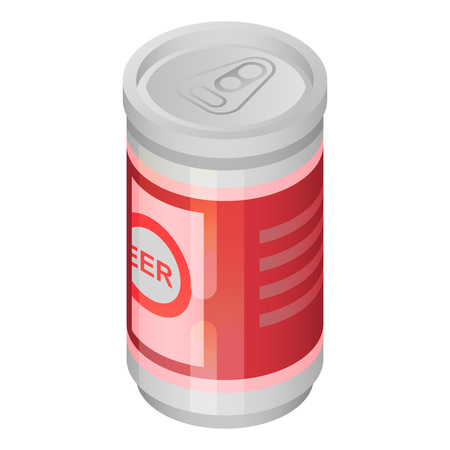 Beer tin can icon. Isometric of beer tin can vector icon for web design isolated on white background
